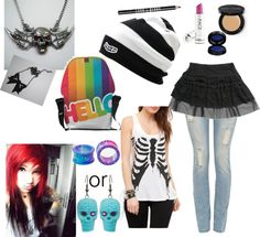 "ok I think some of this is cute. good bye to the skulls and hair though.     ""emo/scene outfit of the dayzz XD"" by movinmo ❤ liked on Polyvore"