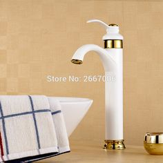 Free Shipping Factory Sale Tall Basin faucet White painted with Gold faucet Deck Mount Mixer Tap Single Handle Faucet Tap ZR558 #Affiliate