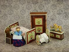 Antique Set 9pc. German Bauernmalerei Bavarian Furniture Wooden Doll House Miniature Bedroom Baby Room Collector Hand Painted Folk Art Lot