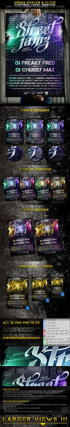 Urban Poster + Flyer / 24 Layout Variations! — Photoshop PSD #grunge #poster • Available here → https://graphicriver.net/item/urban-poster-flyer-24-layout-variations/244090?ref=pxcr