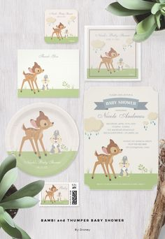 This cute Disney baby shower invitation features your favorite woodland creatures, Bambi and Thumper. Neutral tan and green for boy or girl.