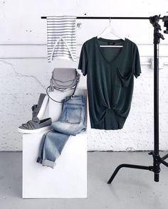 Stitch Fix Cool Tones - love the dark turquoise color, simple v neck with pocket to pair with cute jeans.