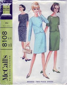 5cc44333e2 Items similar to Vintage 1965 McCall s 8108 Sewing Pattern Misses   Two-Piece Dress Size 14 Bust 34 on Etsy