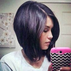 long inverted bob with a side part