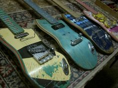 Guitars made of shreddered Skateboards by Ezequiel Galasso