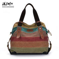 Fashion Canvas Bag Brand Women Handbags Patchwork Casual Women Shoulder Bags Female Messenger Bag Ladies 2017 Spring Purse Pouch