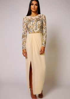 2bdc4b60 Embellished Dress Made from a lightweight polyfabric Long sleeve maxi  dressGathered skirt with slit