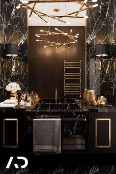 Marble Bedroom, Black And Gold Bathroom, Black And Gold Marble, Latest Bathroom Designs, Marble Interior, Bathroom Design Inspiration, Bathroom Design Luxury, Home Room Design, Decoration