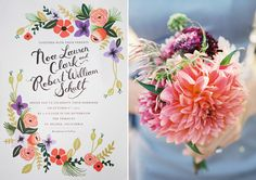 Rifle invitation, dahlia bouquet, photos by Leah McCormick
