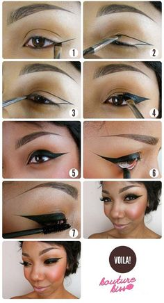 Winged Eyeliner Tutorials - Strong Winged Eyeliner Tutorial- Easy Step By Step Tutorials For Beginners and Hacks Using Tape and a Spoon, Liquid Liner, Thing Pencil Tricks and Awesome Guides for Hooded Eyes - Short Video Tutorial for Perfect Simple Dramatic Looks - thegoddess.com/winged-eyeliner-tutorials