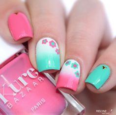 Pink & Aqua Floraly Nails