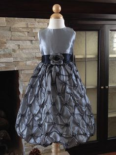 Silver Grey Taffeta Pick-Up Wedding Princess Flower Girl Dress Gown 3/4 5/6 7/8 #DressyHolidayPageantWedding