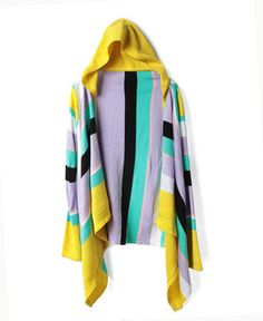 Hooded Design and Open Front Cardigan with Colorful Stripe Print