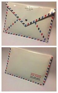 Kate Spade Par Avion Via Air Mail Letter NIKOLETTE Envelope Clutch NWT