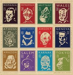stamps - horror  sci fi icons