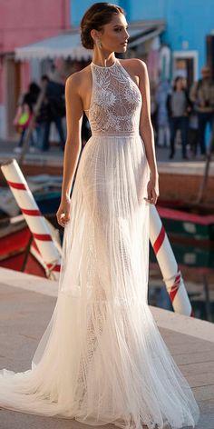 beach wedding dresses straight lace halter neckline sleeveless gali karten