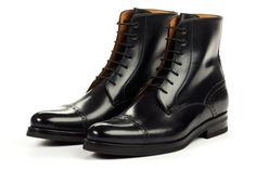 Paul Evans Handmade Italian Leather Men's Dress Shoes - The Presley Lace-Up Boot - Nero - Rubber Sole Dress With Boots, Lace Up Boots, Leather Boots, Men Boots, Suit Shoes, Men's Shoes, Dress Shoes, Shoe Boots, Expensive Shoes
