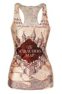 Wish | Fashion The Marauder's Map Print New Women T-shirt 3D Printed Women's Clothing Harry Potter Print Tank Top Women Clothing for Lady Girl Women XS/S/M/L/XL