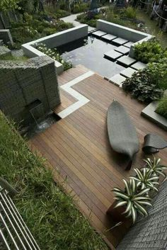 Contemporary garden and water feature.
