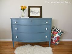 The Weathered Door: A smokey blue by Sherwin Williams dresser with white knobs with diy info