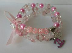 Sparkly Girls name bracelets, finished with ribbon & charms x