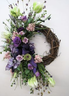 Best 11 Purple, Pink and Cream Silk Floral Large Crescent Spring Front Door Wreath/Spring Wreath/Spring Decor/Summer Wreath/Ready to Ship Spring Front Door Wreaths, Diy Spring Wreath, Fall Wreaths, Floral Wreaths, Burlap Wreaths, Mesh Wreaths, Rustic Wreaths, Front Door Decor, Grapevine Wreath