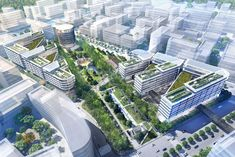 Foster   Partners Breaks Ground on Green-Roofed Hongqiao Vantone SunnyWorld Centre in Shanghai