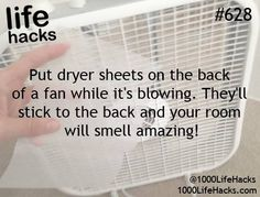 use fan and dryer sheet to make household air freshener
