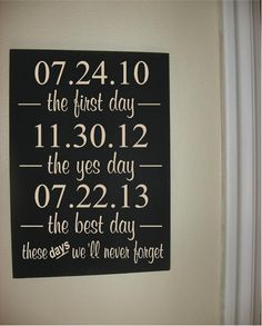 Every married woman should hang one of these in her house. What a sweet way to make hubby feel like he remembered all by himself ❤