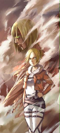 Annie and female titan totally blew my mine.for like two episodes i thought it was mikasa because she saved armin but noooo gaah Armin, Mikasa, Snk Annie, Aho Girl, Manga Anime, Anime Art, Titan Shifter, Female Titan, Annie Leonhart