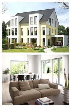 """Komfortables #Doppelhaus mit Carport """"Style XL"""". Als Doppelhaus konzipiert ist dieser Entwurf das ideale Haus für alle, die gute Nachbarschaft zu schätzen wissen. Das funktionale und clevere #Grundrisskonzept ermöglicht euch dabei die optimale Ausnutzung von begrenzten Grundstücksflächen. Als Typ XL entsteht mit drei Geschossen ein klassisches Doppelhaus mit attraktiver #Architektur und komfortablem Wohnen für alle, die noch etwas mehr Platz benötigen. #livinghaus #grundriss Style At Home, Living Haus, Mansions, House Styles, Interior, Outdoor Decor, Home Decor, Mockup, Floor Layout"""