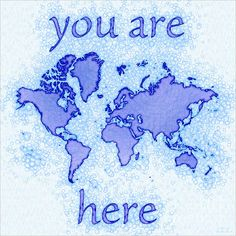World Map Airy Square with 'You Are Here' text In Blue And White by elevencorners. World map wall print decor. #elevencorners #mapairy