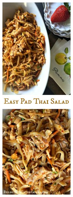 Easy Pad Thai Salad with or without chicken for quick summer entertaining
