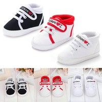 Toddler Baby Infants Girls Boys Crib Shoes Lace Up Shoes Soft Sole Sneakers Prewalker 0-18M White Pi