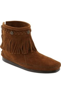 Minnetonka Fringed Moccasin Bootie (Women) available at #Nordstrom