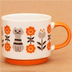 oooOOOoooo this is lovely! Decole miranda cat and flower cup orange Vintage Dishes, Vintage Kitchen, Cat Mug, Mug Cup, Dinnerware, Coffee Cups, Tea Pots, Decoration, Pottery