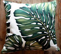 retro monstera leaf small lumber cushion by homeworksdesignstore