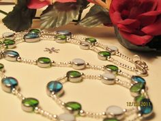 Blue, Green and White Glass Silver Lined Bead Long Necklace, $48, #RomanticThoughts.etsy.com, #jewelry