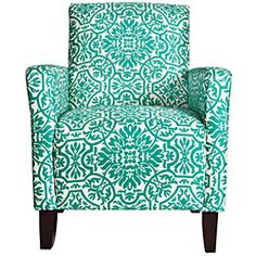 Modern Damask Turquoise Blue Arm Chair from Overstock.com