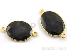 Natural Black Onyx Faceted Bezel Connector 24K Gold by Beadspoint, $7.99