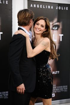 """Angelina Jolie & Brad Pitt – """"Salt"""" LA Premiere (July >> Showing their… – Food recipes Angelina And Brad Pitt, Brad And Angie, Angelina Jolie Photos, Hollywood Heroines, Hollywood Actor, Celebrity Couples, Celebrity Style, Most Beautiful Women, Beautiful People"""