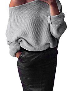 9c3a1c40cce StyleDome Women s Loose Round Neck Long Sleeve Solid Blouse Casual Jumper  Pullover Sweater at Amazon Women s Clothing store