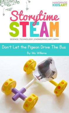 A low prep Preschool STEM activity inspired by the book, Don't Let the Pigeon Drive the Bus.