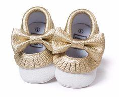 7e2fd0a33e59 Cute 2 tone Gold and White baby moccs