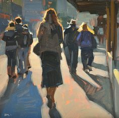 """Carol Marine, """"City Stroll, Late Afternoon"""".  Love the variation in darks against the strong lights."""