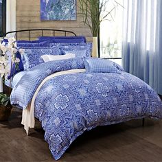 Denim Blue and White Classic Lattice Print Abstract Design Luxury Personalized 100% Cotton Damask Full, Queen Size Bedding Sets