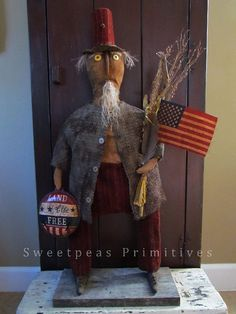 Primitive Patriotic Americana Folk Art by SweetpeasPrimitives