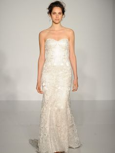 Maggie Sottero cream strapless lace wedding dress with modified sweetheart neckline
