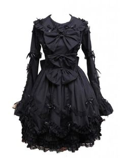 M4U Womens Black Turndown Collar Bows Cotton Gothic Lolita Dress M4U Online Shopping to enter or purchase click on Amazon here http://www.amazon.com/dp/B00CAPHRNG/ref=cm_sw_r_pi_dp_Ngg0tb1T8SQ6M0W4