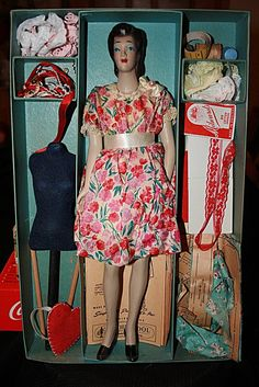 1945 Simplicity Fashiondol Mannequin Doll w/ Sewing Book Patterns